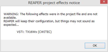 Reaper で VST プラグイン TX16Wx を使用する | 徒然なるペンペン草